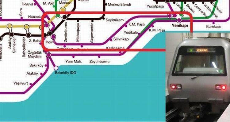 Yenikapı İncirli Metro Güzergahı