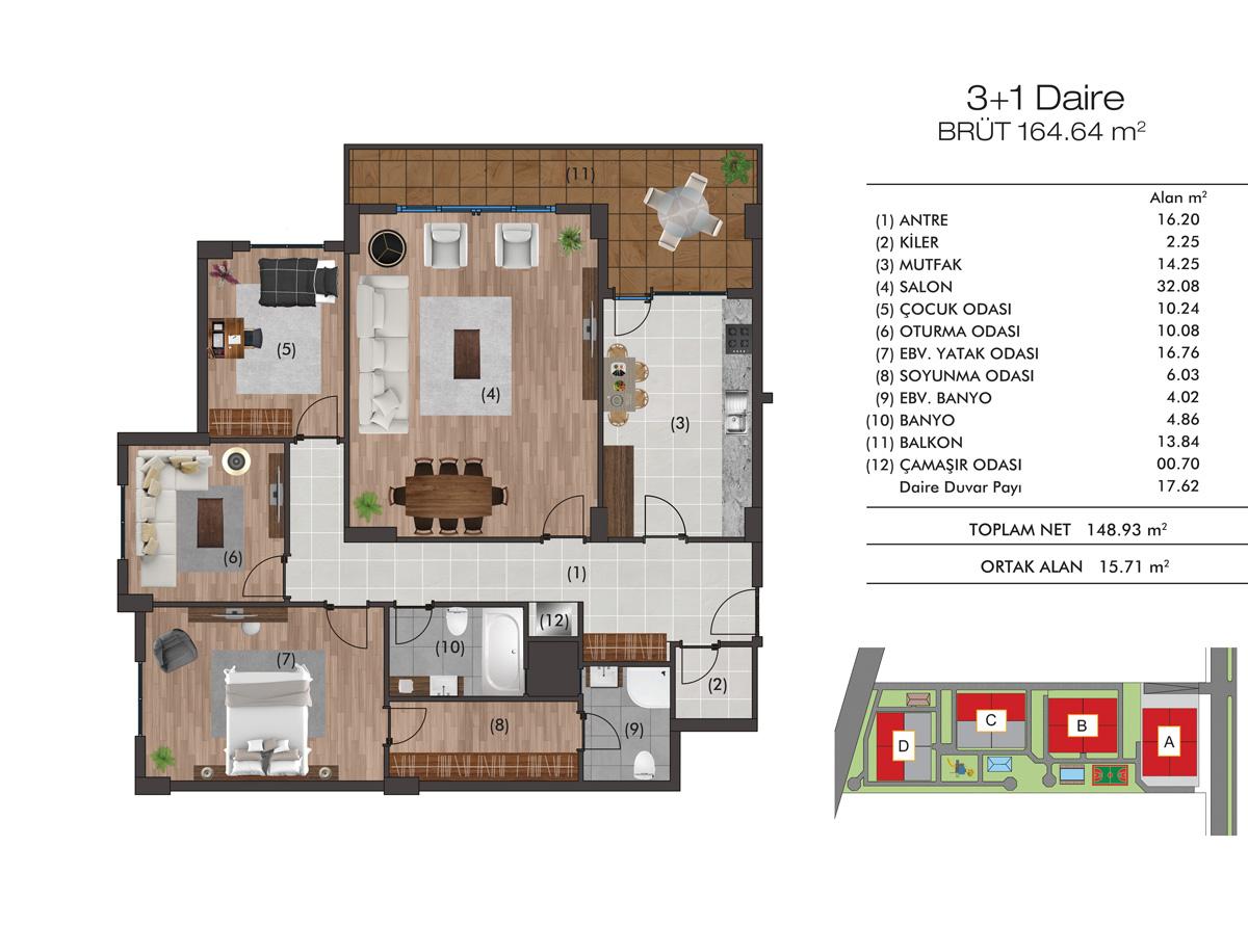 Greentown erkezk y projesi ve fiyatlar tekirda yeni for Greentown villas 1 extension